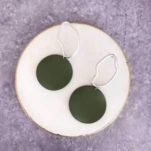 Jack & Freda Silver Olive Luna Disc Earrings