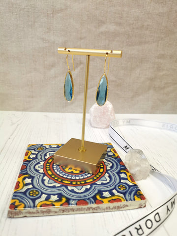 My Doris Ocean Blue Long Drop Earrings