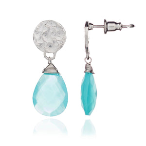 Azuni, Silver Aqua Chalcedony 'Kate' Earrings