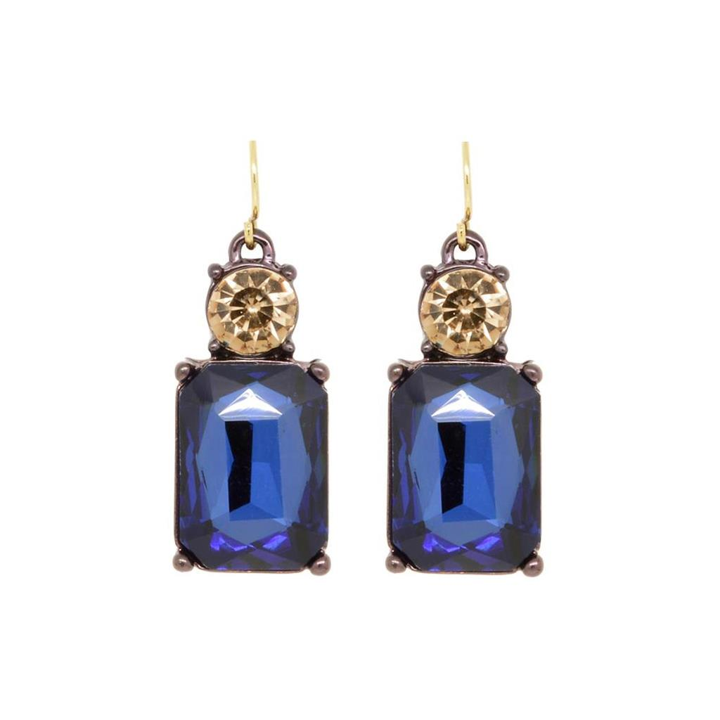 Last True Angel  Navy & Amber Gem Earrings