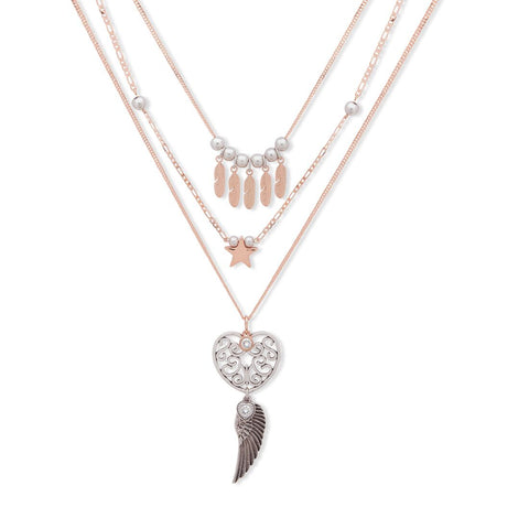 Bibi Bijoux 3 Rose Gold charm necklace