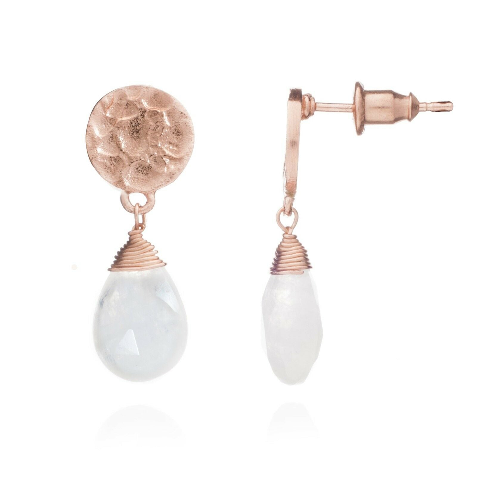 Azuni 'Kate' Rose Gold Moonstone Drop Studs