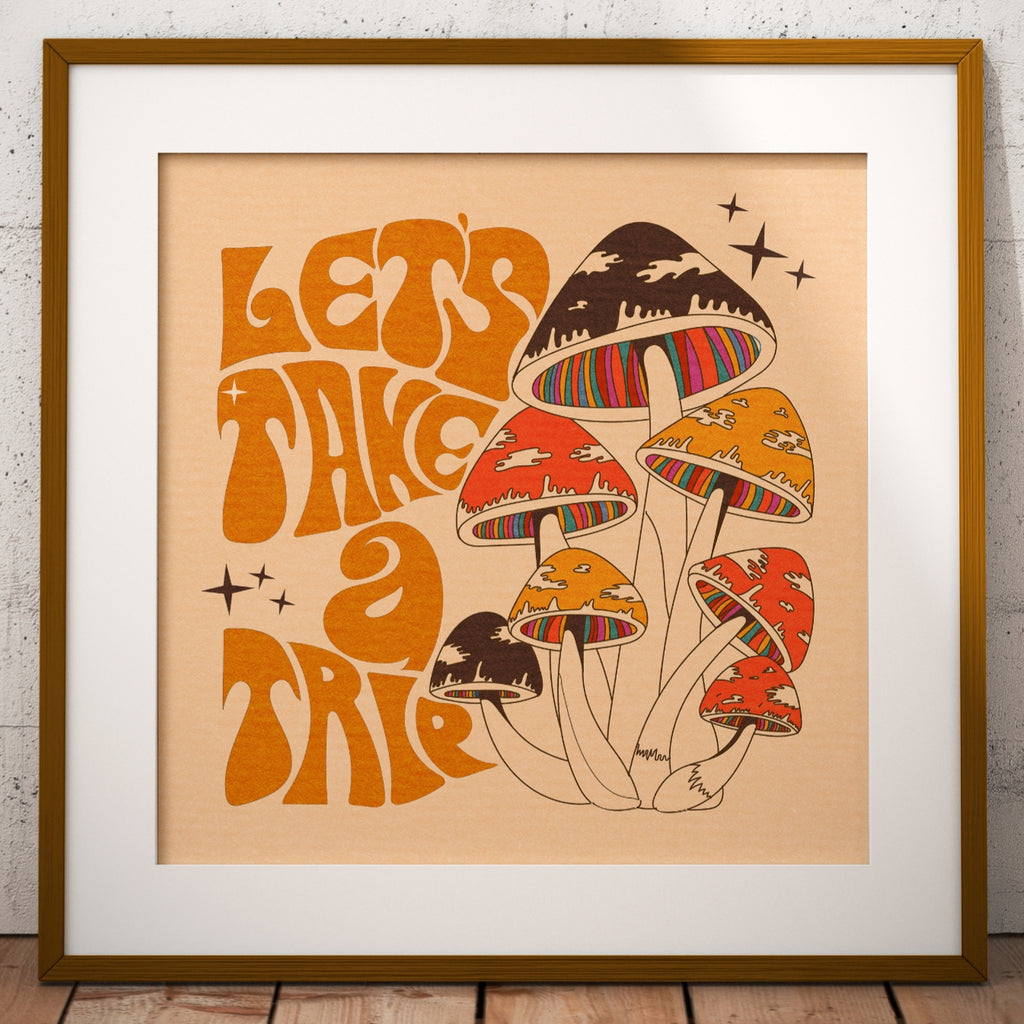 Let's Take A Trip, Magic Mushroom Square Print