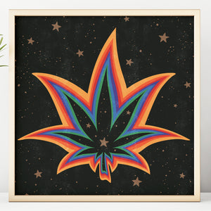 Rainbow Weed Square Print