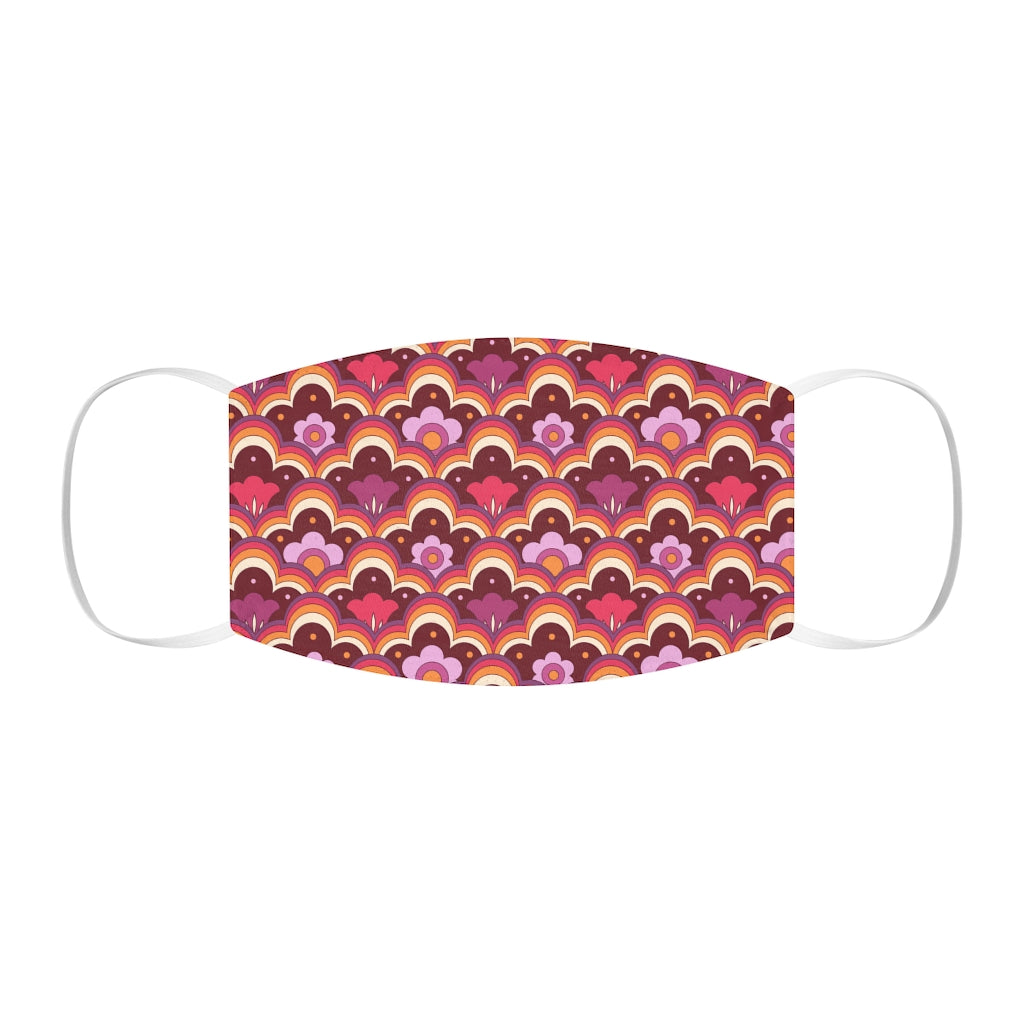 Retro 70s Flower Power, Pink Snug-Fit Face Mask
