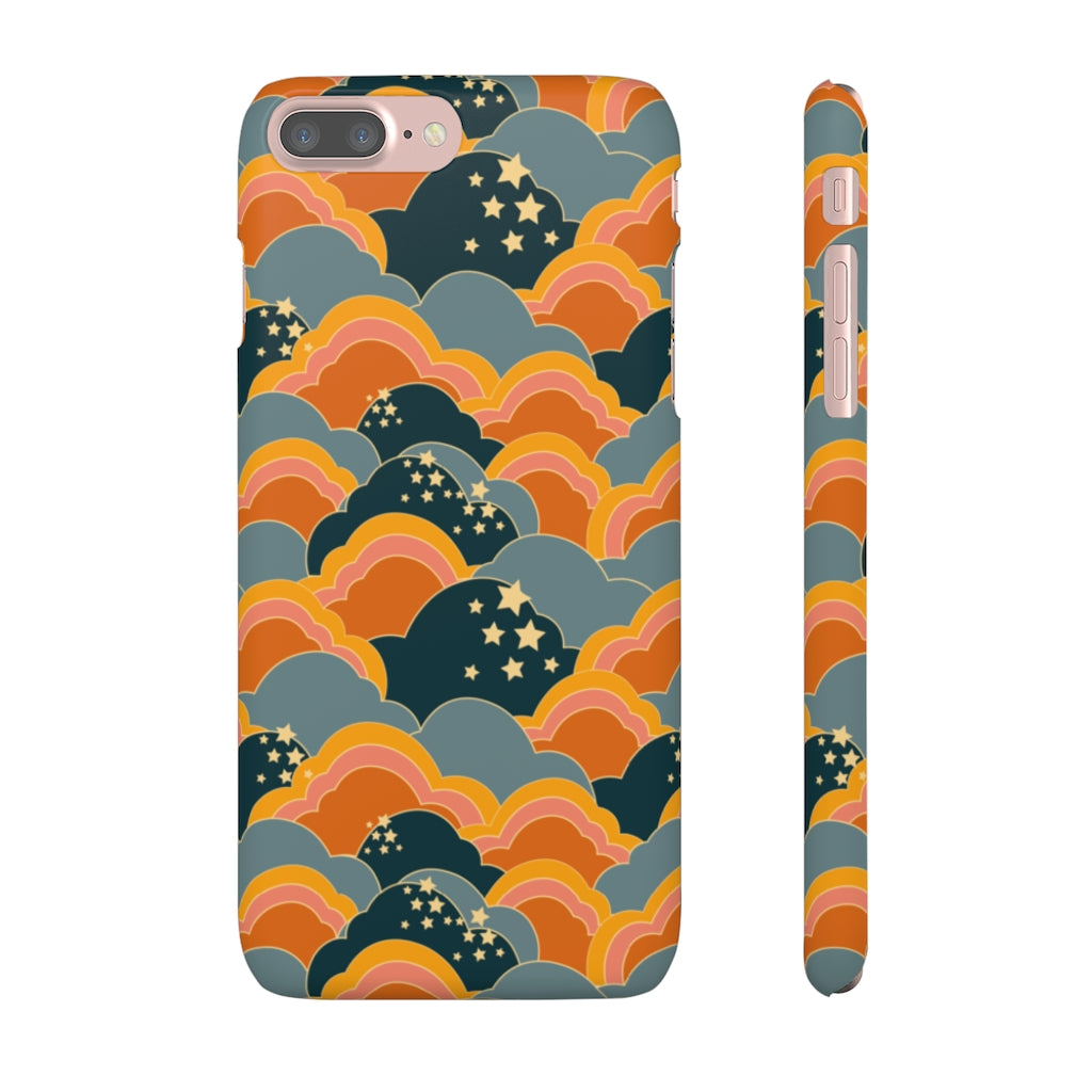 70s Cloud Pattern Hard Snap on Phone Case Blue Orange