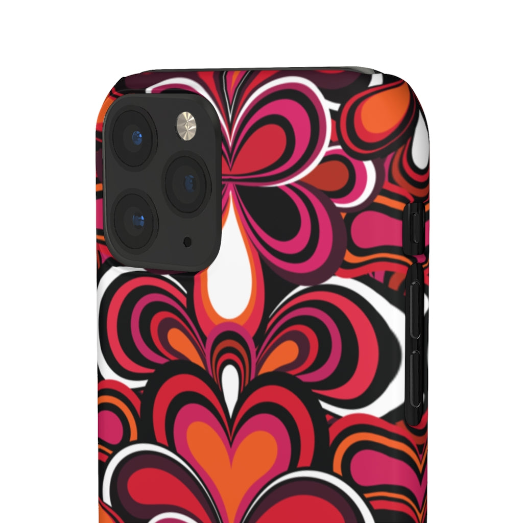 Psychedelic 70s Pattern Hard Snap on Phone Case Blue