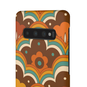 Retro 70s Flower Power Pattern Hard Snap on Phone Case Orange, Teal