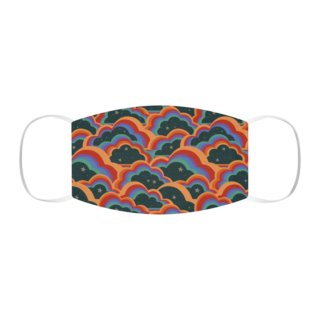 Retro 70s Clouds, Rainbow Snug-Fit Face Mask