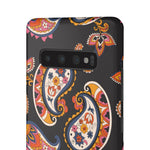 70s Paisley Pattern Hard Snap on Phone Case Navy