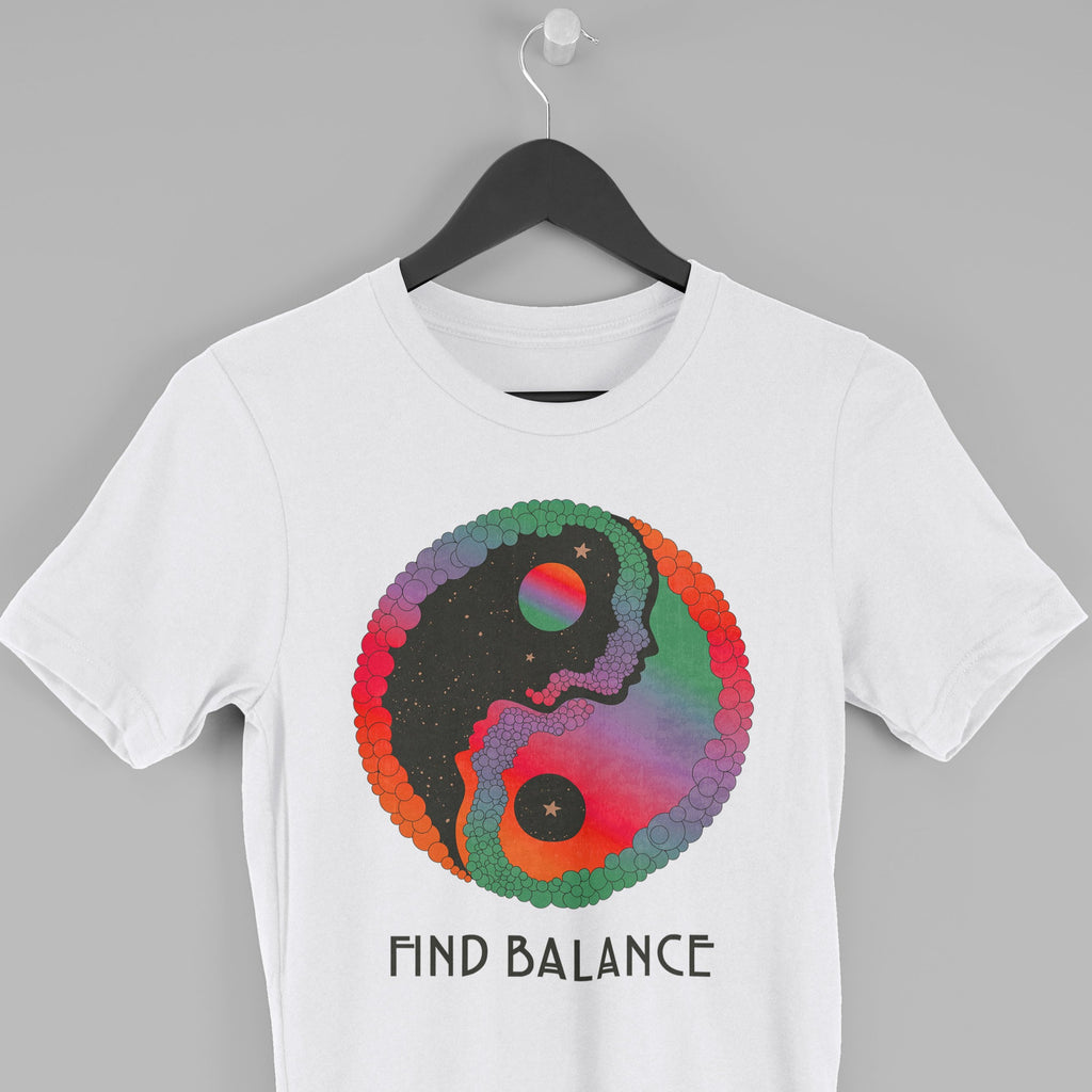 Find Balance, Yin and Yang T shirt White