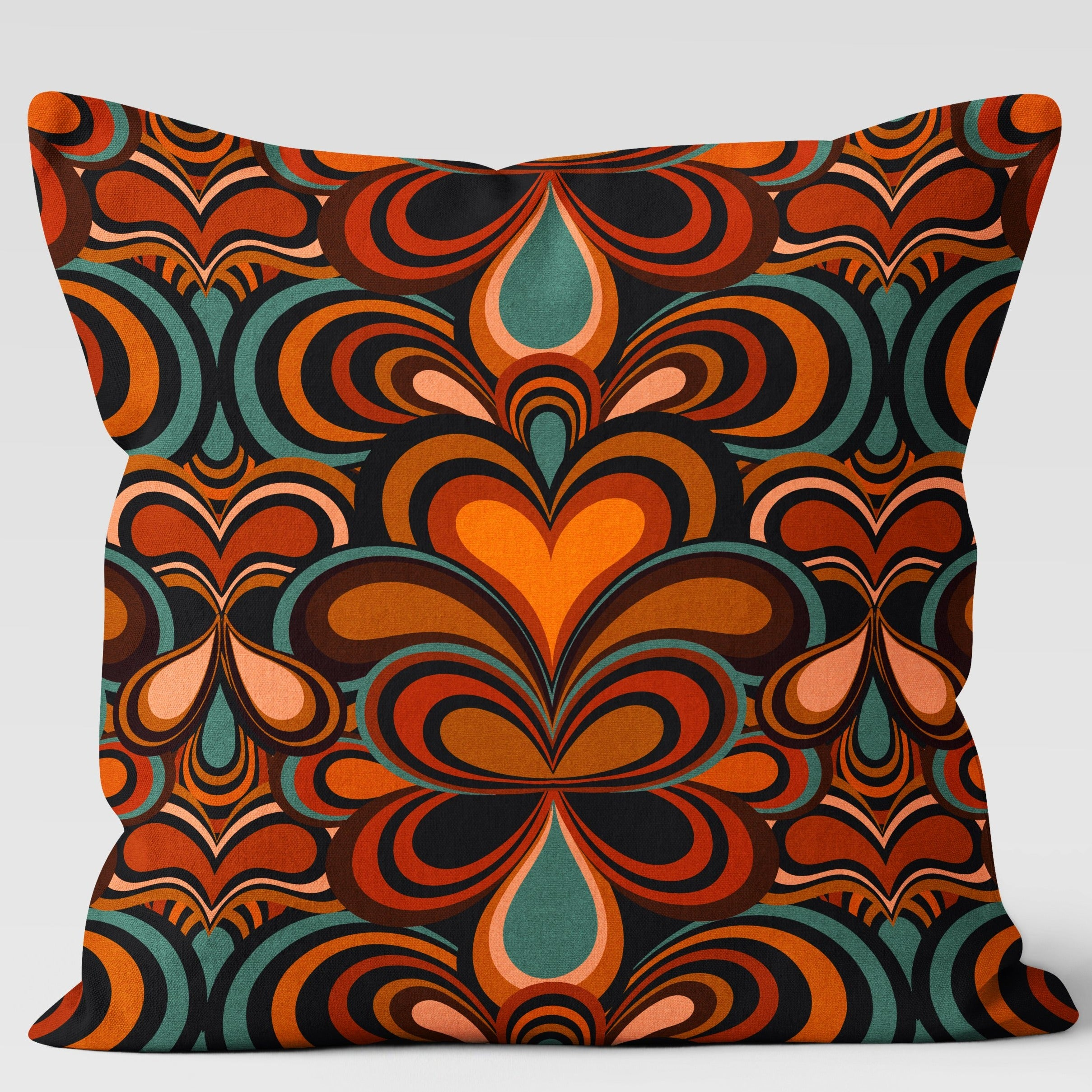 Psychedelic 70s Pattern Cushion Orange, Blue