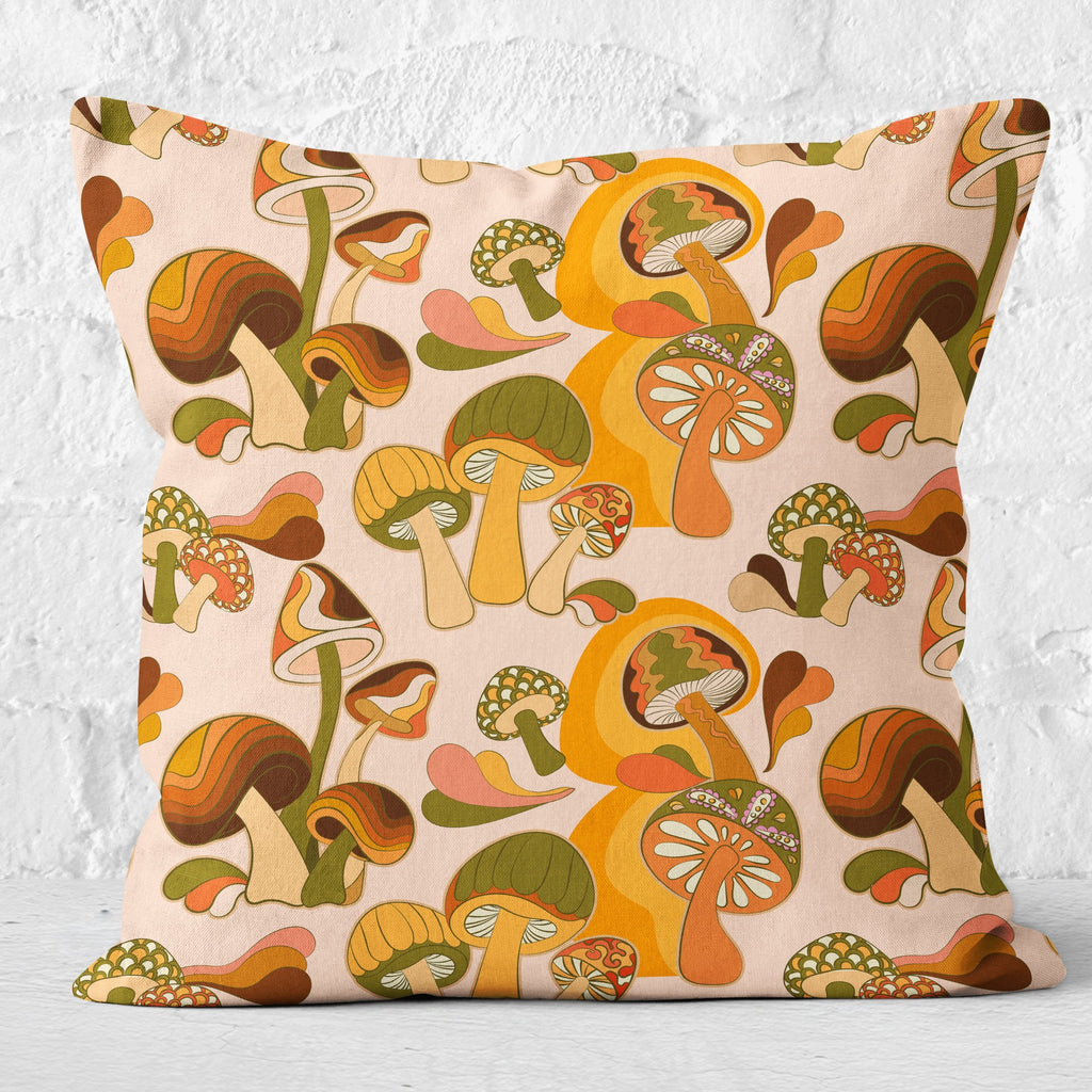 70s Mushroom Print Cushion, Cream