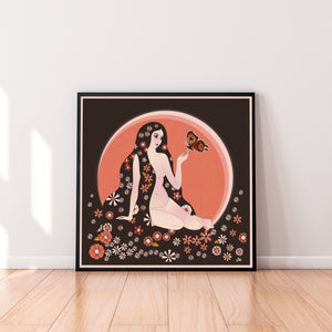 Butterfly Queen Square Print Orange