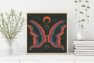 Rainbow Butterfly People Square Print