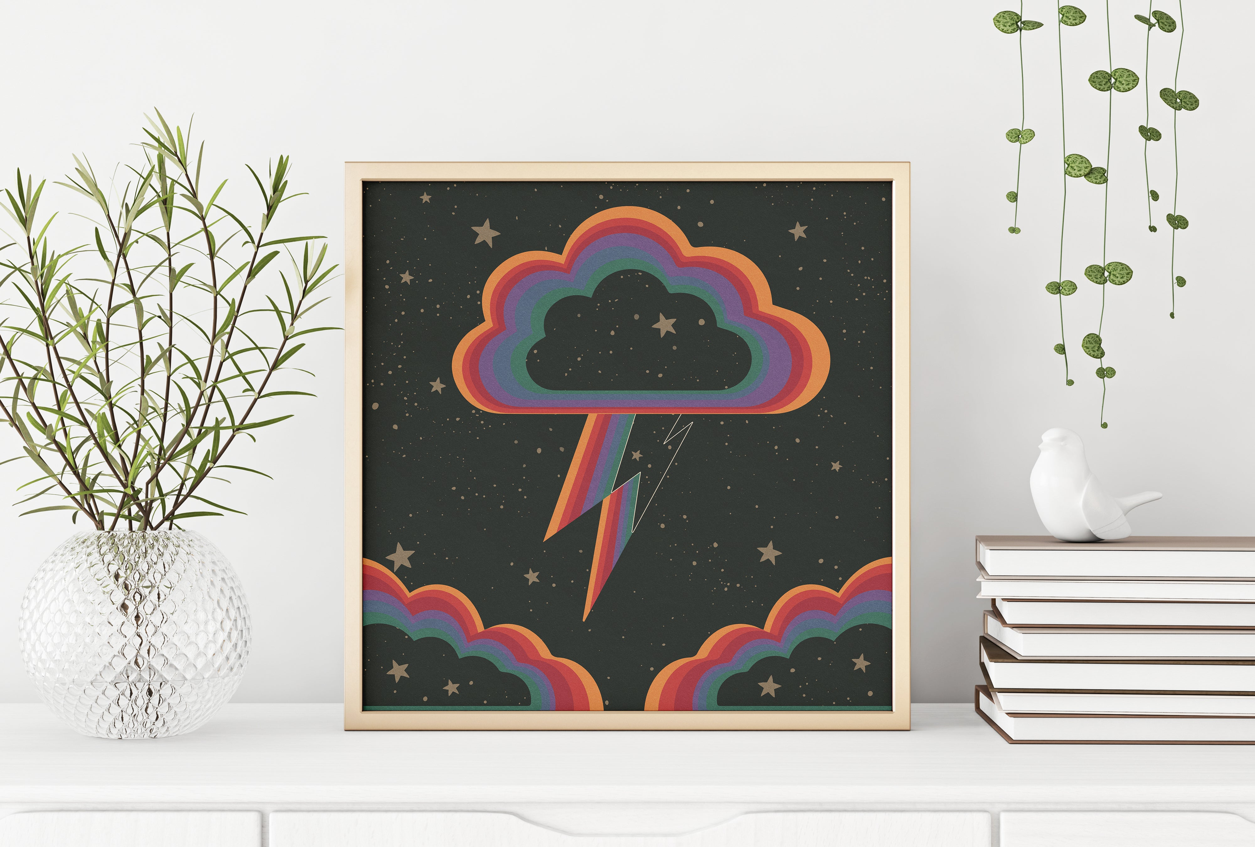 Rainbow Clouds Square Print