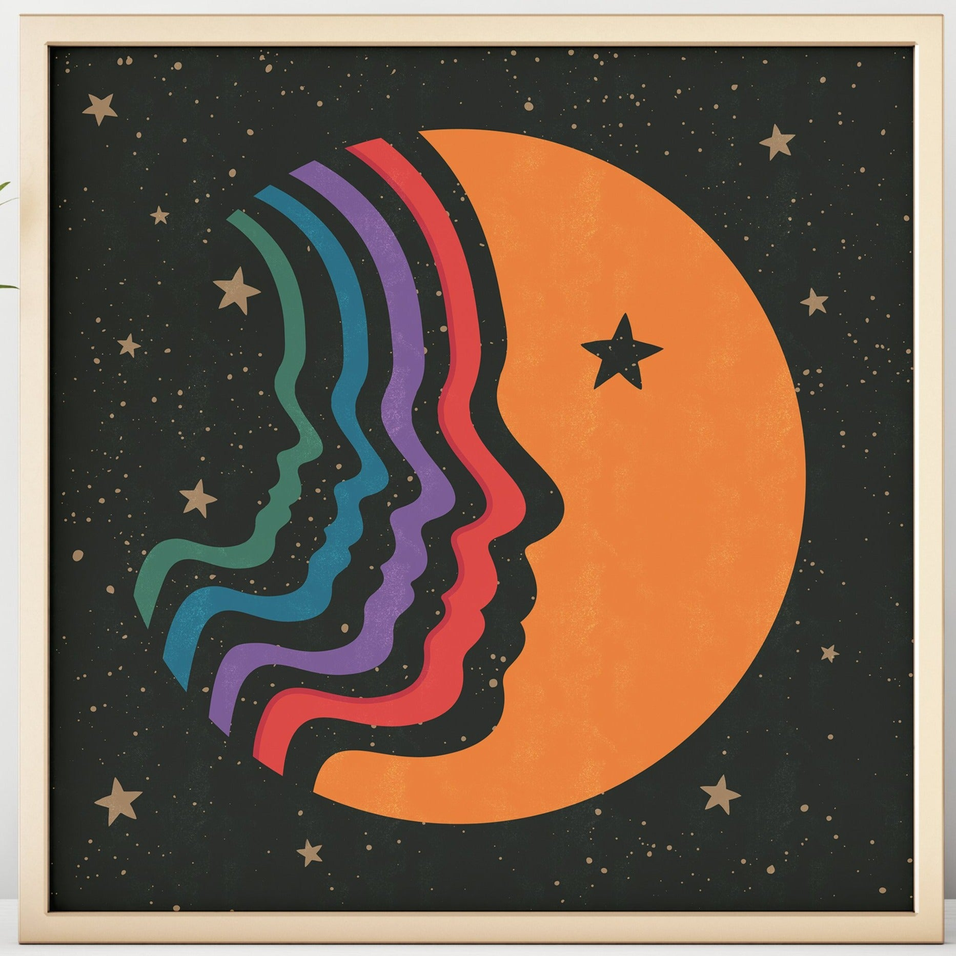 Rainbow Man On The Moon Square Print
