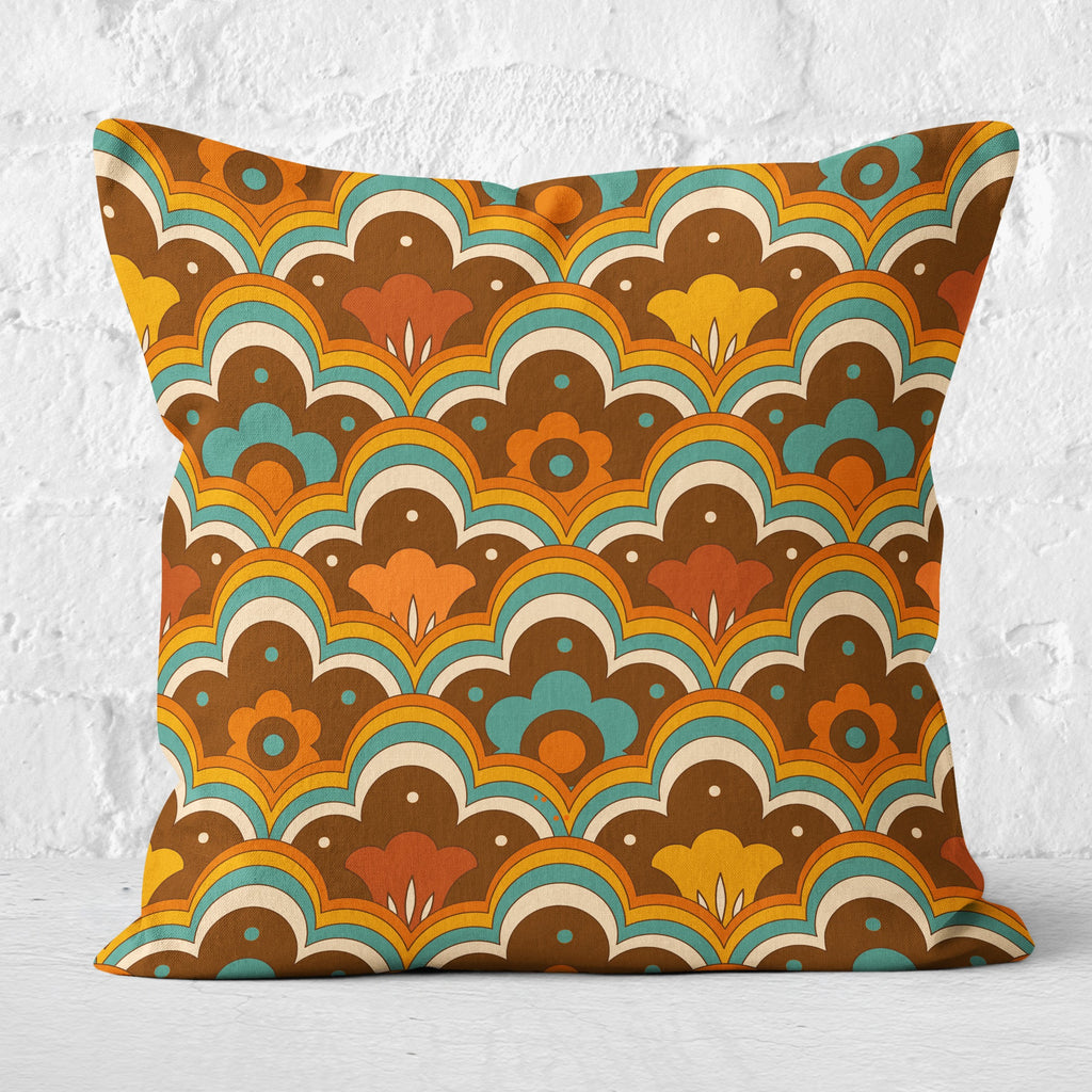 Retro 70s Flower Power Cushion Orange Blue