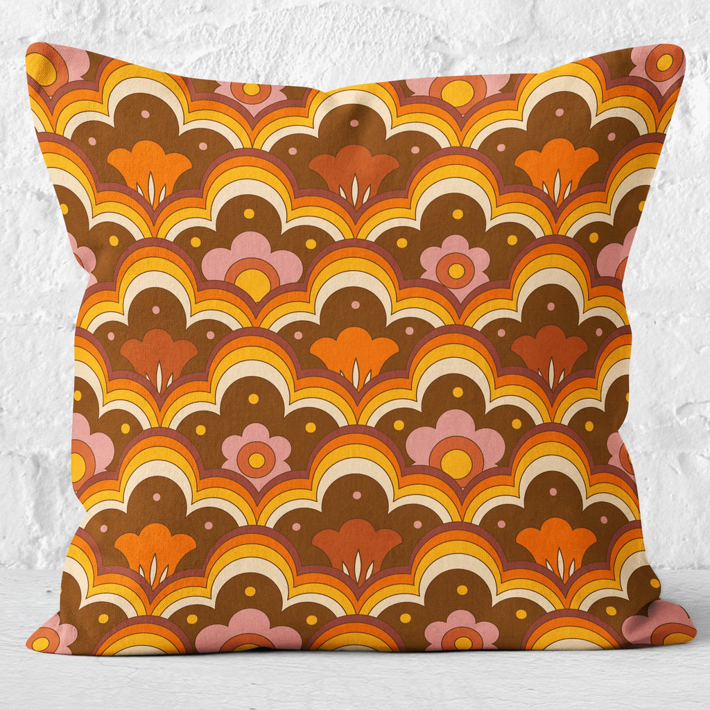 Retro 70s Flower Power Cushion Orange