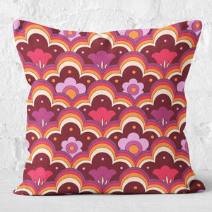 Retro 70s Flower Power Cushion Pink