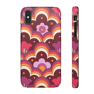 Retro 70s Flower Power Pattern Hard Snap on Phone Case Purple
