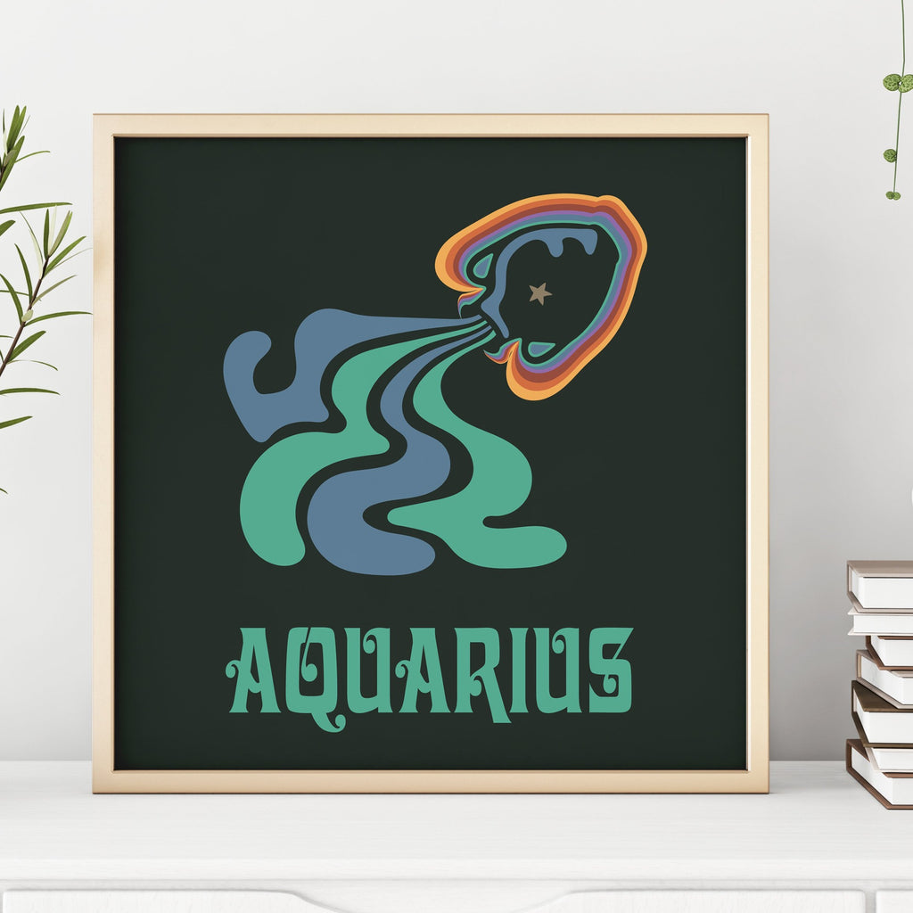 Rainbow Aquarius Minimal Square Print