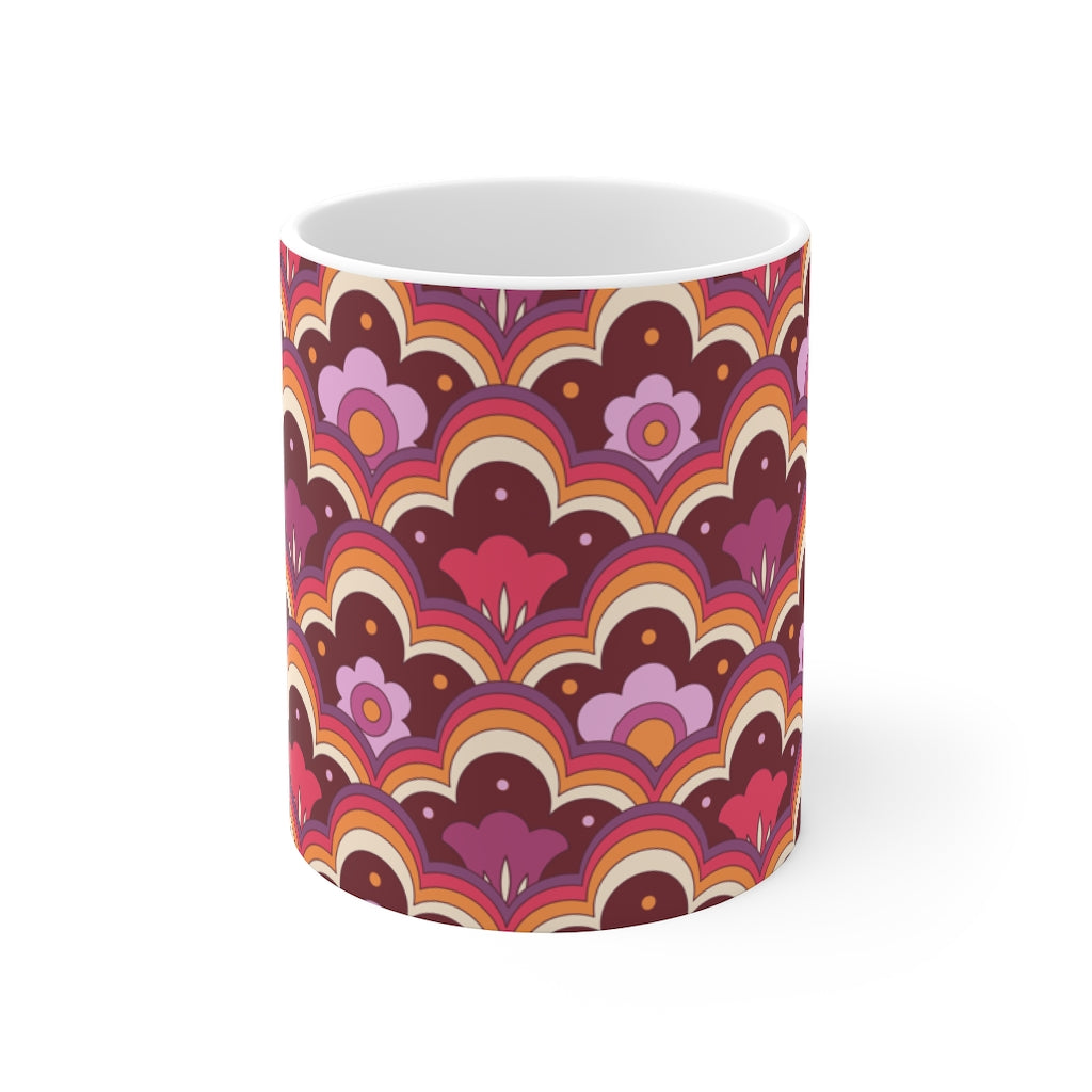 Retro Flower Power Pink Mug