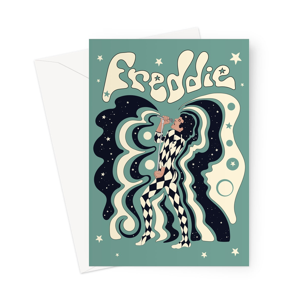 Freddie Mercury Blue Greeting Card