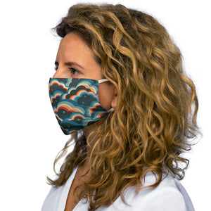 70s Clouds, Blue, red Snug-Fit Face Mask