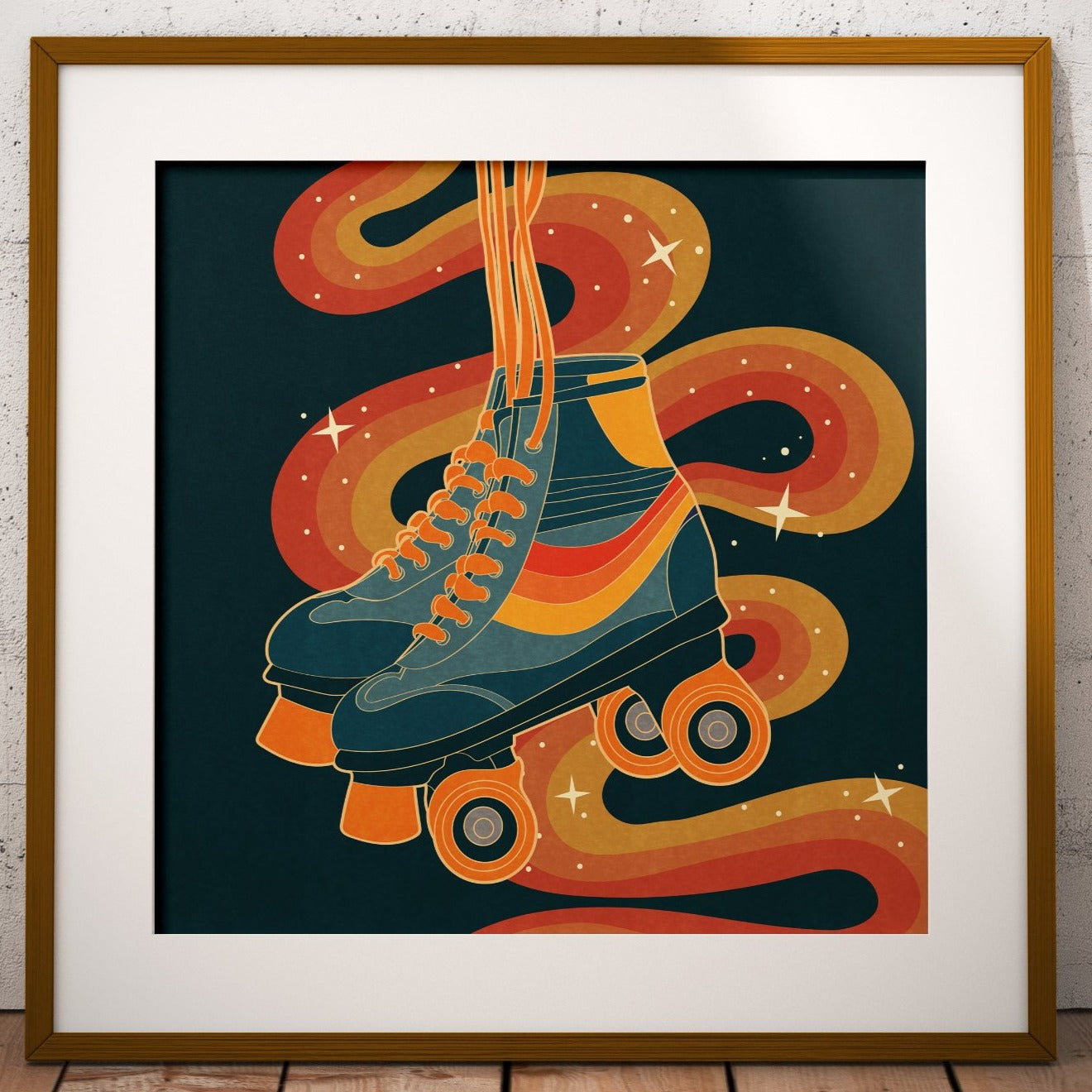 Roll With It, Retro Roller Skates Square Print