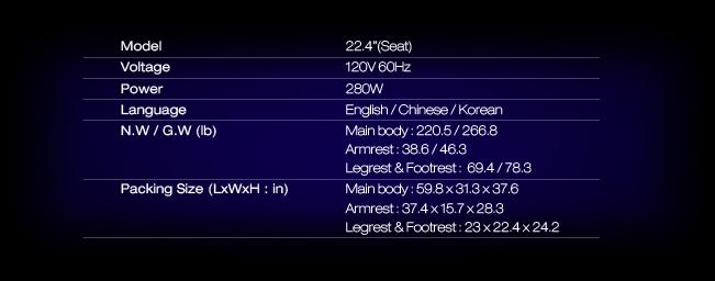 Image of product specs