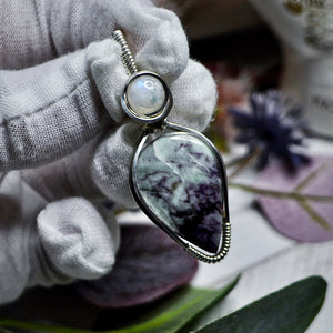 Kammererite and Moonstone Pendant
