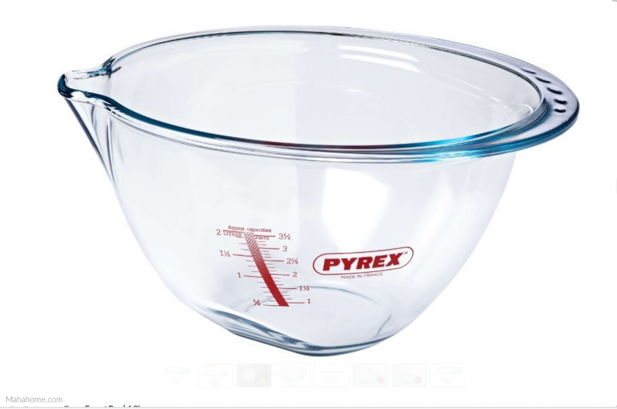 Pyrex Expert Bowl with Measuring Scale, 4.2L, Transparent