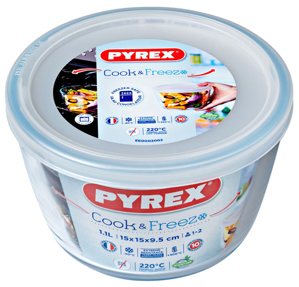 Pyrex Cook & Freeze Round Glass Dish with Plastic Lid 1,1l - 15cm