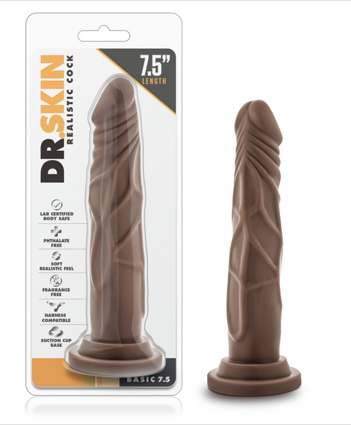 44352 - Dildo, Dr. Skin Realistic Cock - Basic 7.5 inch (Chocolate)
