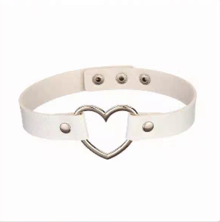 20212 - Choker, Heart (White)
