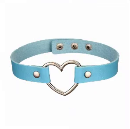 20212 - Choker, Heart (Light Blue)