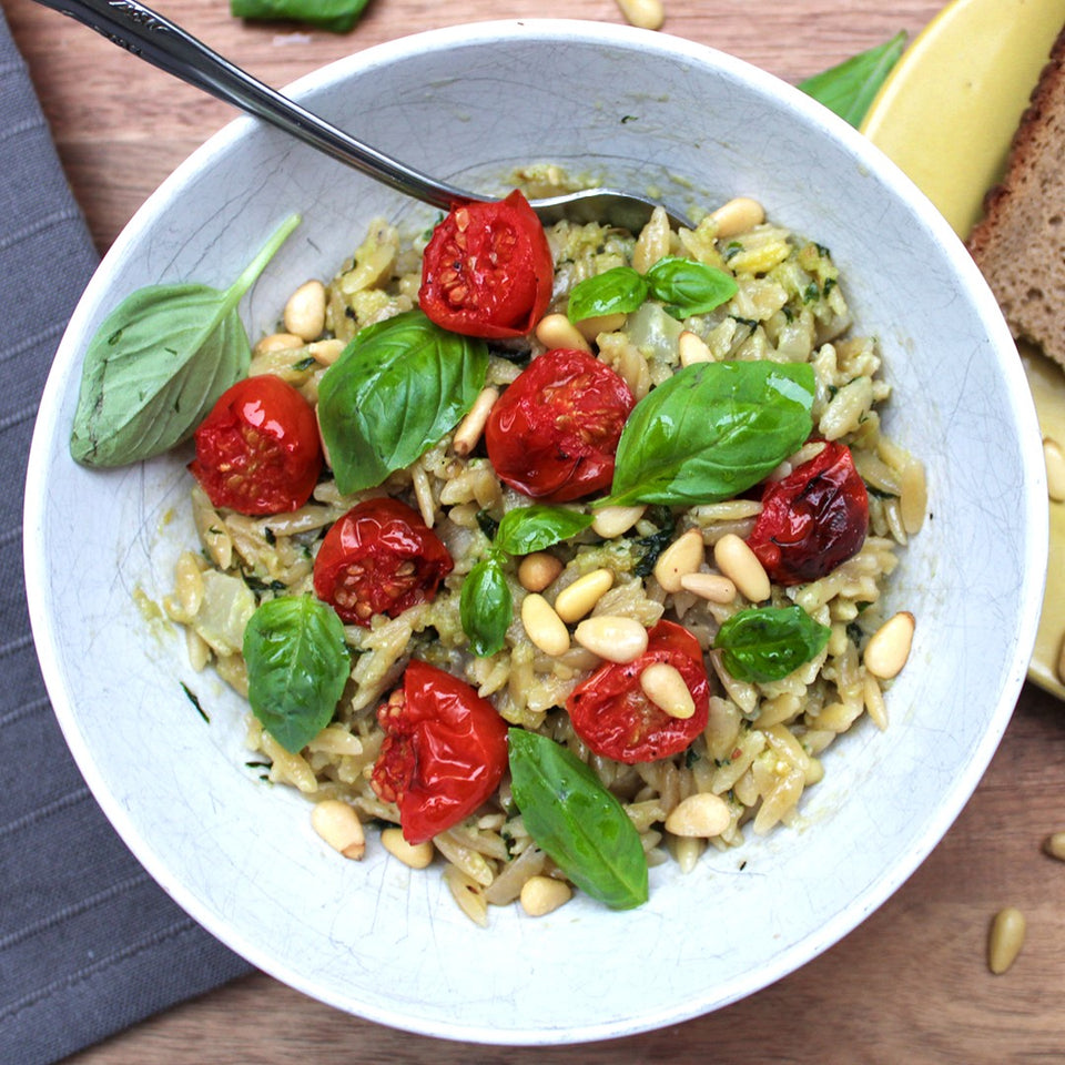 Recipe Match for Sauvignon Blanc:  Orzo, Tomato, Basil and Goats Cheese