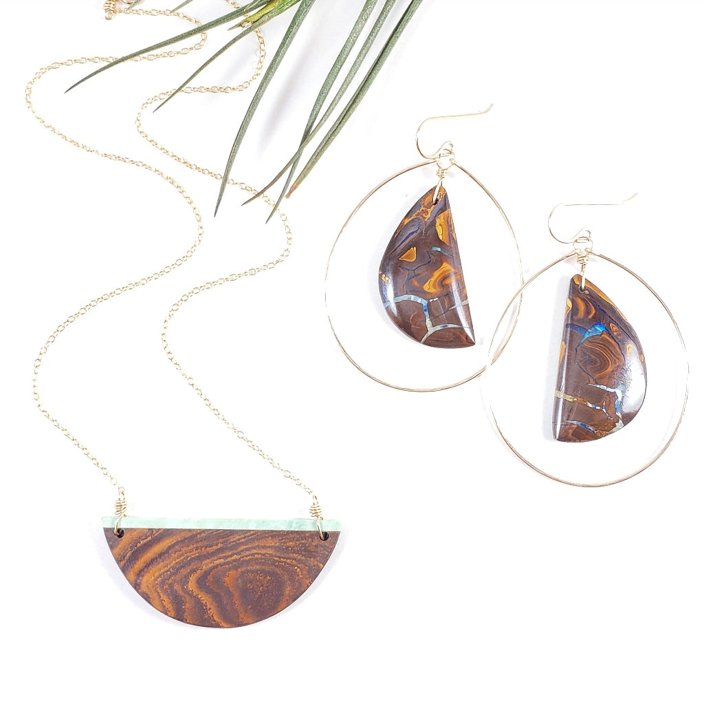 Australian Boulder Opal Gemstone Earrings & Necklace set on Gold Chain - Shay D. Design