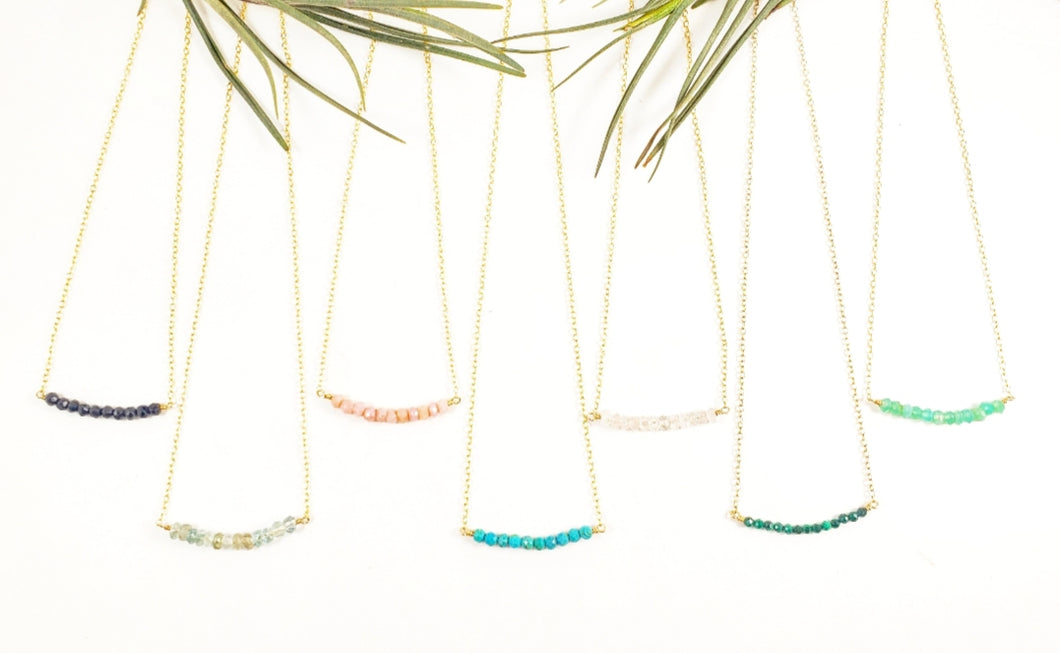 Tiny Gemstone & 14k gold chain necklace Layering necklaces Gemstone necklace - Shay D. Design