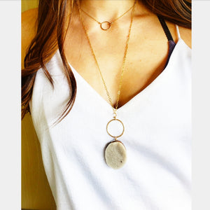 Druzy Quartz Gemstone pendant necklace on long gold layering Chain Gold Ring