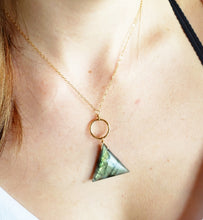 Load image into Gallery viewer, Gemstone Necklace - Labradorite triangle Gemstone Necklace on gold chain - Shay D. Design