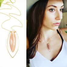Load image into Gallery viewer, Rose Moonstone framed in 14k gold on gold chain necklace Handmade Jewelry -Shay D. Design