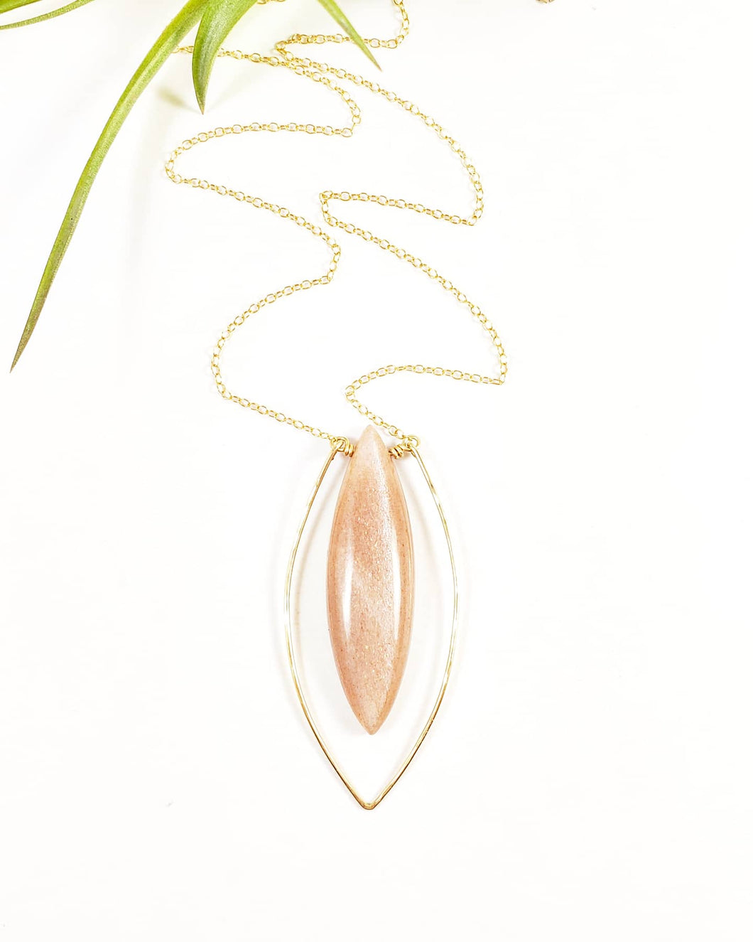 Rose Moonstone framed in 14k gold on gold chain necklace Handmade Jewelry -Shay D. Design