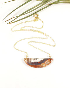 Gemstone necklace Crazy Lace Agate on gold chain Bohemian style Jewelry - Shay D. Design