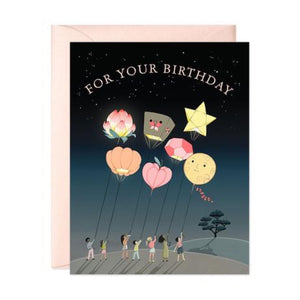 JooJoo Peach Lanterns Birthday Greeting Card