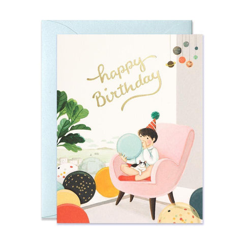 JooJoo Blowing Balloons Birthday Greeting Card