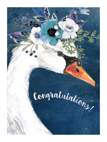 Engagement Card Swan with Flower Crown for Bride by Calypso