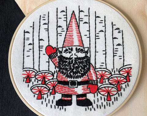 Hook Line and Tinker Gnome Embroidery Kit