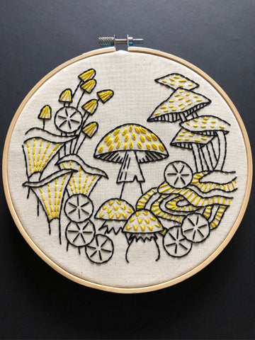 Hook Line and Tinker Mushroom Fungus Among Us Embroidery Kit
